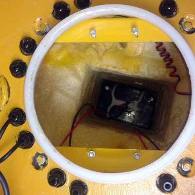 Look inside the buoy, plenty of space for instruments and data logger